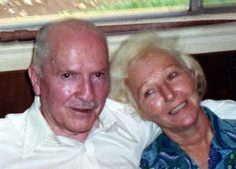 Robert A. Heinlein and wife Virginia in Tahiti, 1980